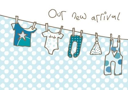 Pack of 8 New Baby Boy Announcement Cards - Karenza Paperie