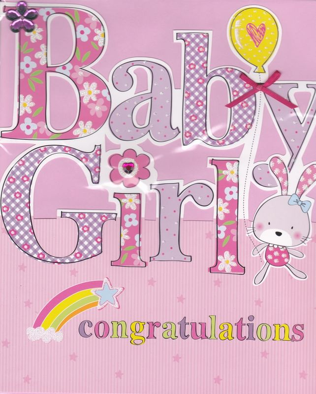 Hand Finished Baby Girl Card - Large, Luxury Congratulations Card