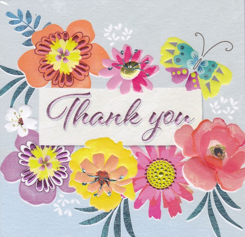 Flowers  Butterfly Thank You Card - Karenza Paperie - butterfly thank you cards