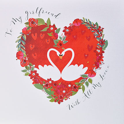 To My Girlfriend With All My Love Card - Large, Luxury Valentine\u0027s
