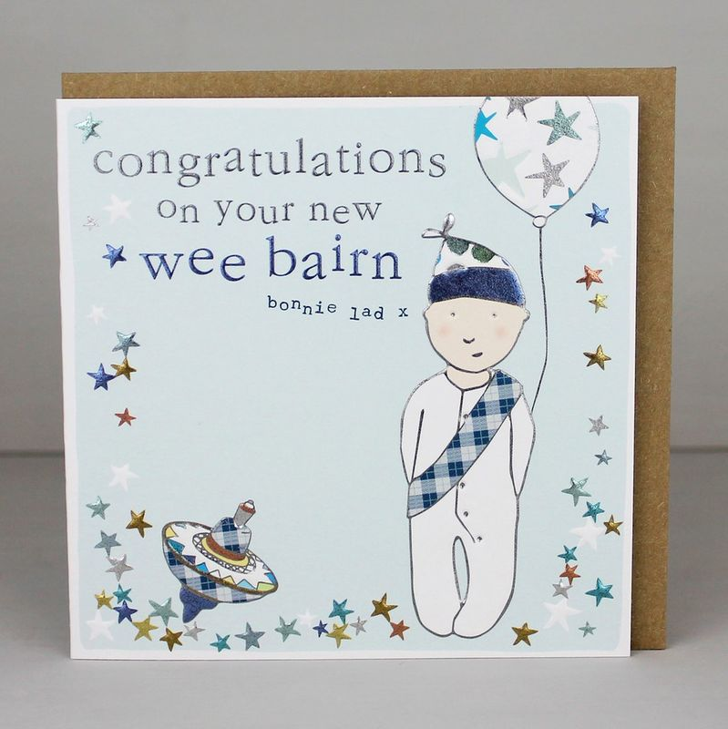 Congratulations On Your New Wee Bairn Card - New Baby Boy Card