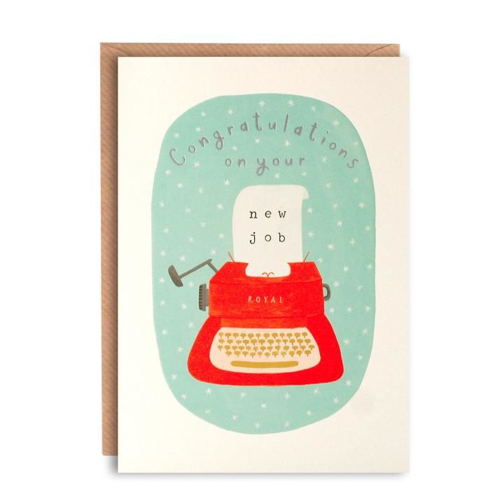 Typewriter Congratulations On Your New Job Card - Karenza Paperie