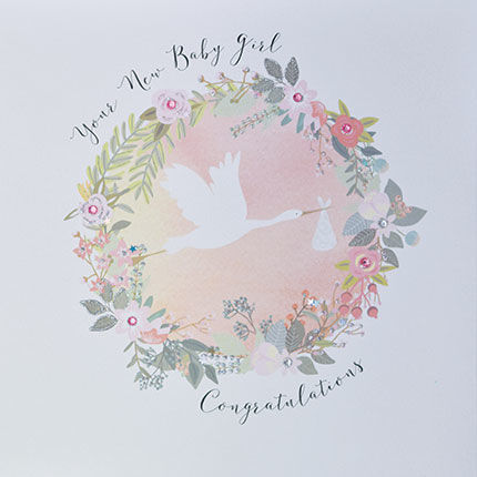 Your New Baby Girl Congratulations Card - Large, Luxury New Baby
