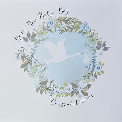 Your New Baby Boy Congratulations Card - Large, Luxury New Baby Card