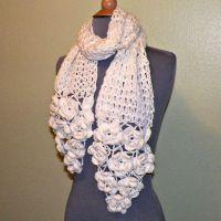 Ivory Flower Scarf Stole Shawl Irish Crochet Lace Freeform ...