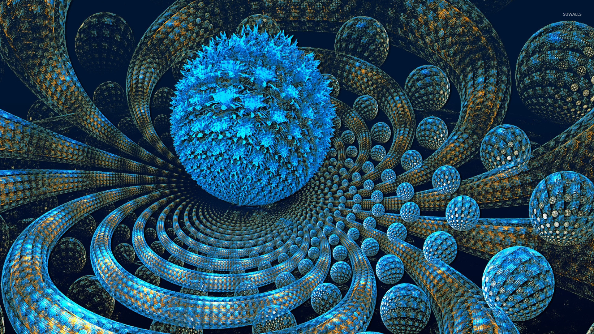 Spiral Wallpaper 3d Blue Fractal Orbs Wallpaper 3d Wallpapers 45383