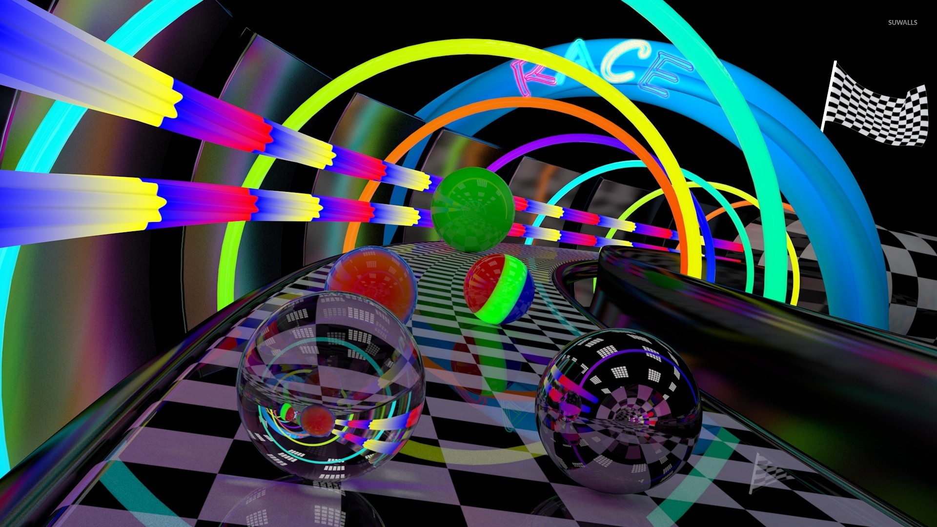 3d Cube Wallpaper Glass Spheres On The Race Track Wallpaper 3d Wallpapers