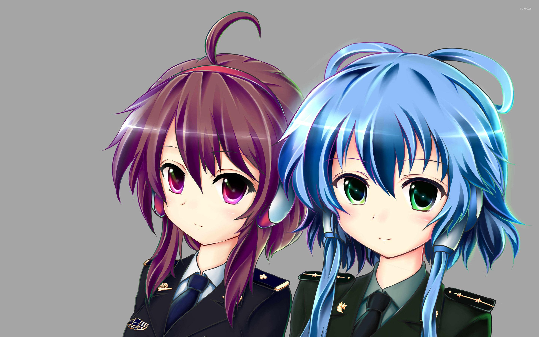 Anime Wallpaper Girls Hair Blonde Eyes Purple Army Girls With Purple And Blue Hair Wallpaper Anime