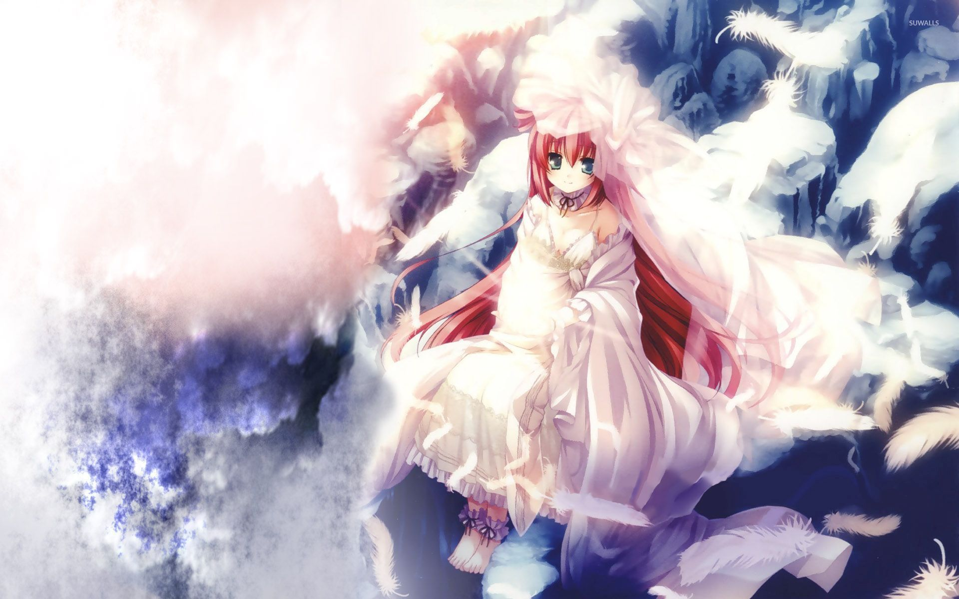 Cute Minimalistic Wallpapers Redhead Angel In The Sky Wallpaper Anime Wallpapers 53701