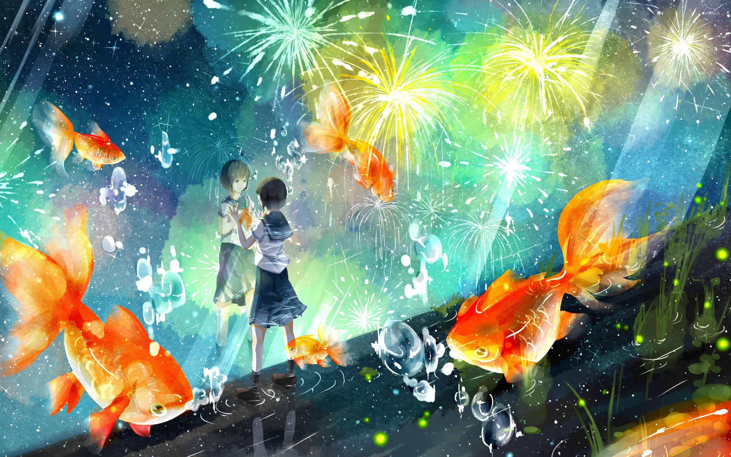 Koi Fish Iphone Wallpaper Schoolgirl Wathing The Fireworks Wallpaper Anime