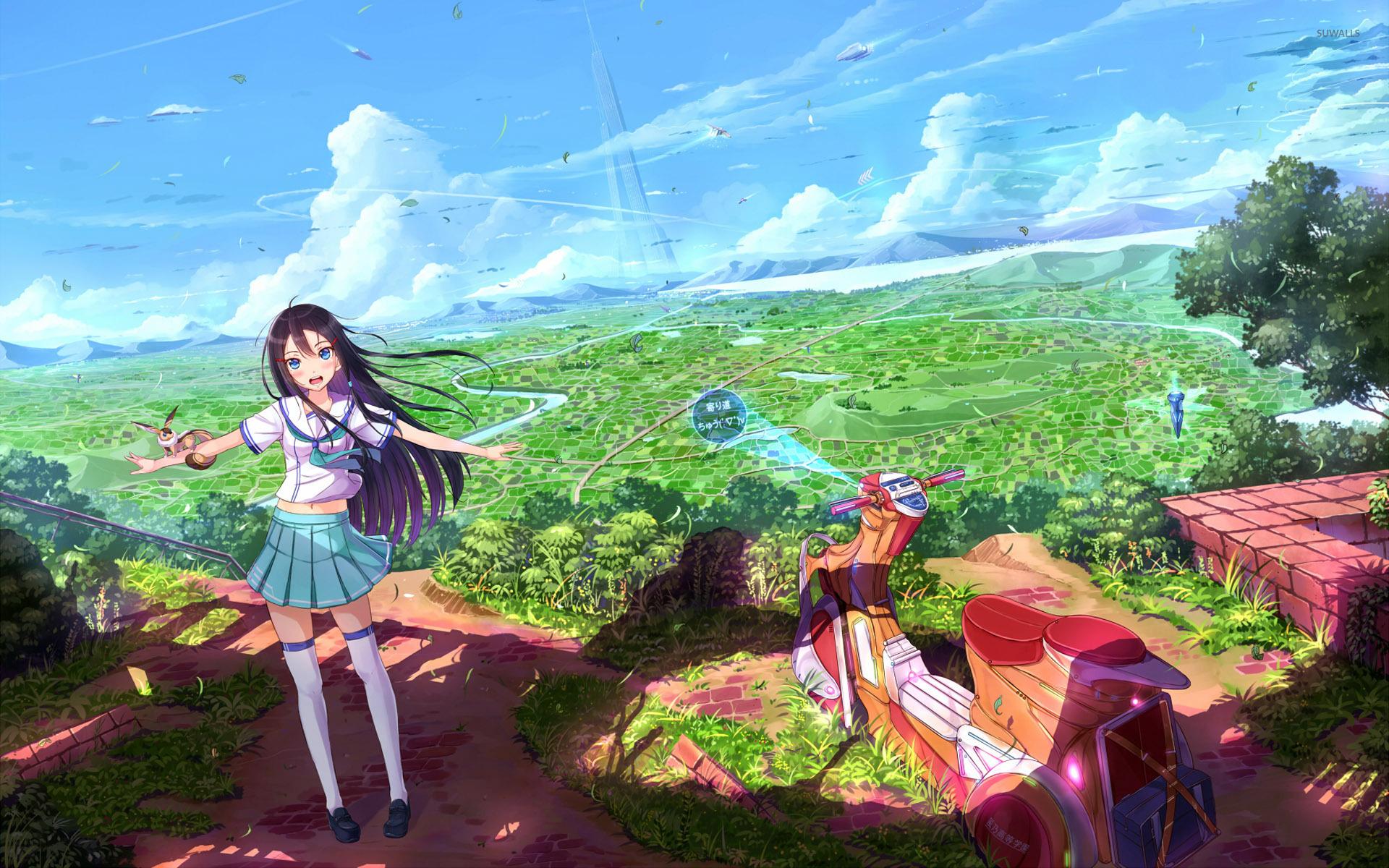 Dragon Ball Z Girls Wallpaper Schoolgirl With Her Scooter Wallpaper Anime Wallpapers