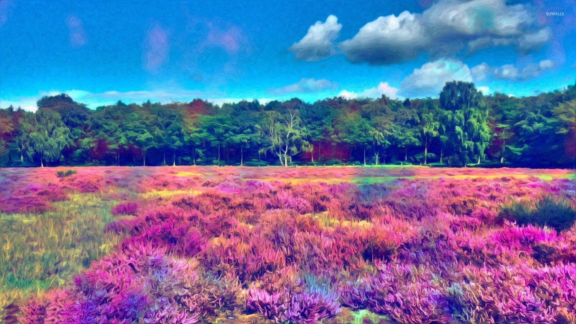 Psychedelic Quotes Wallpapers Colorful Field Near The Woods Wallpaper Artistic