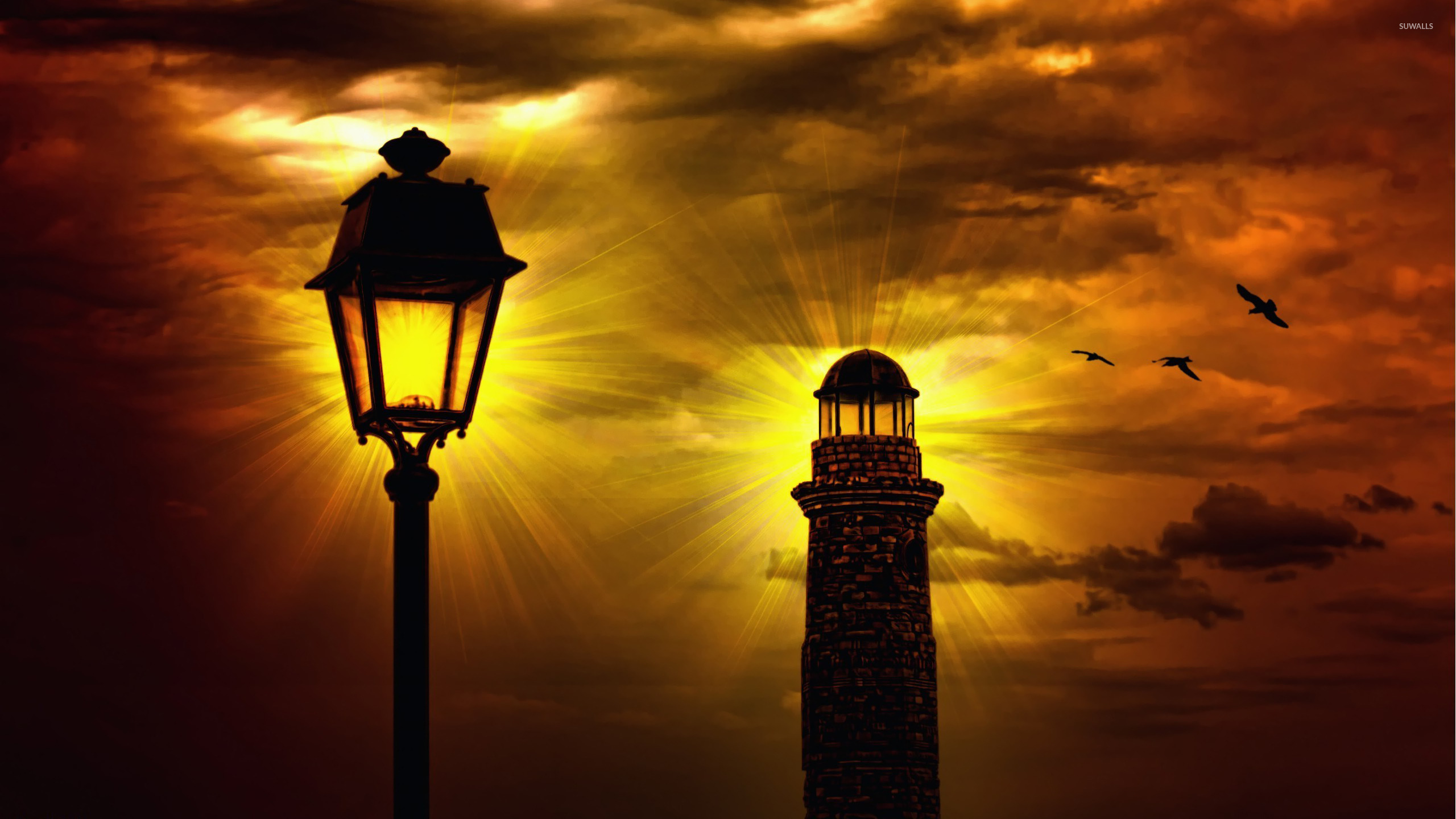 Street Lamp Wallpaper Lighthouse And Street Lamp Wallpaper Artistic Wallpapers