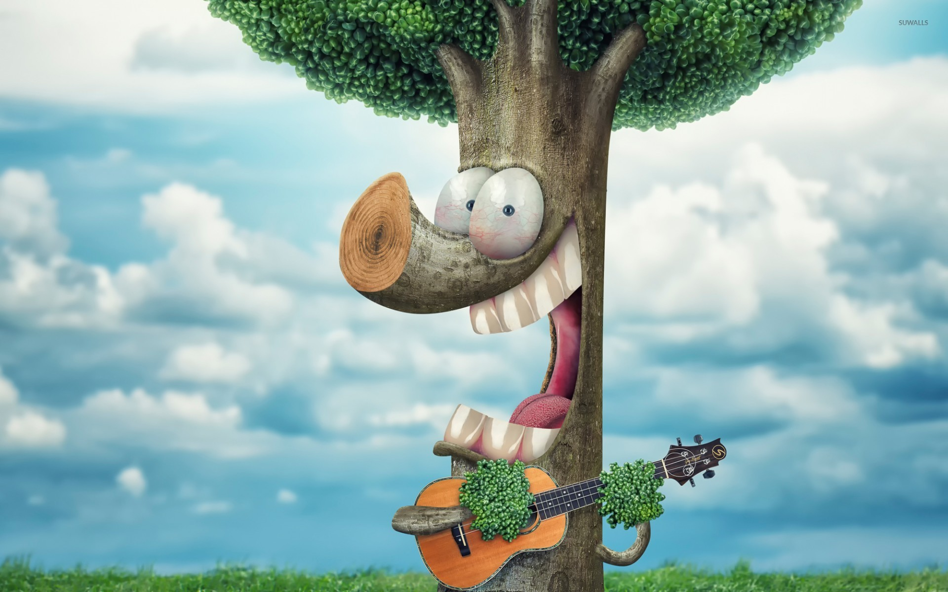 Fantastic Wallpapers With Quotes Tree Playing The Guitar Wallpaper Artistic Wallpapers