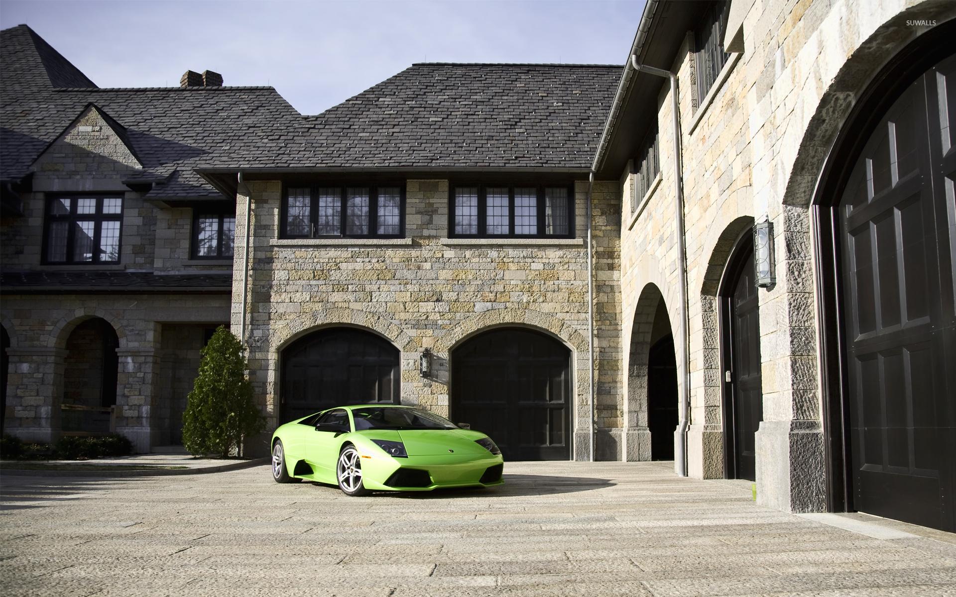 Honda City Car Hd Wallpaper Download Green Lamborghini Murcielago Parked In Front Of A Mansion