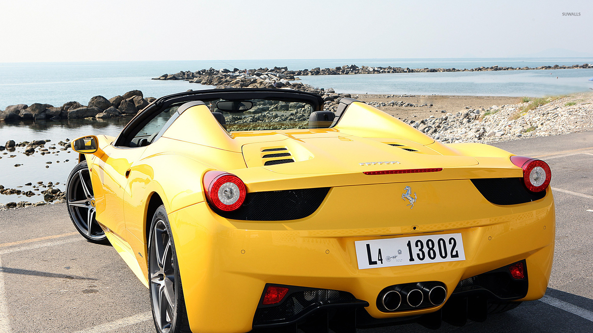 Car Hdr Wallpaper Yellow Ferrari 458 Spider Back View Wallpaper Car