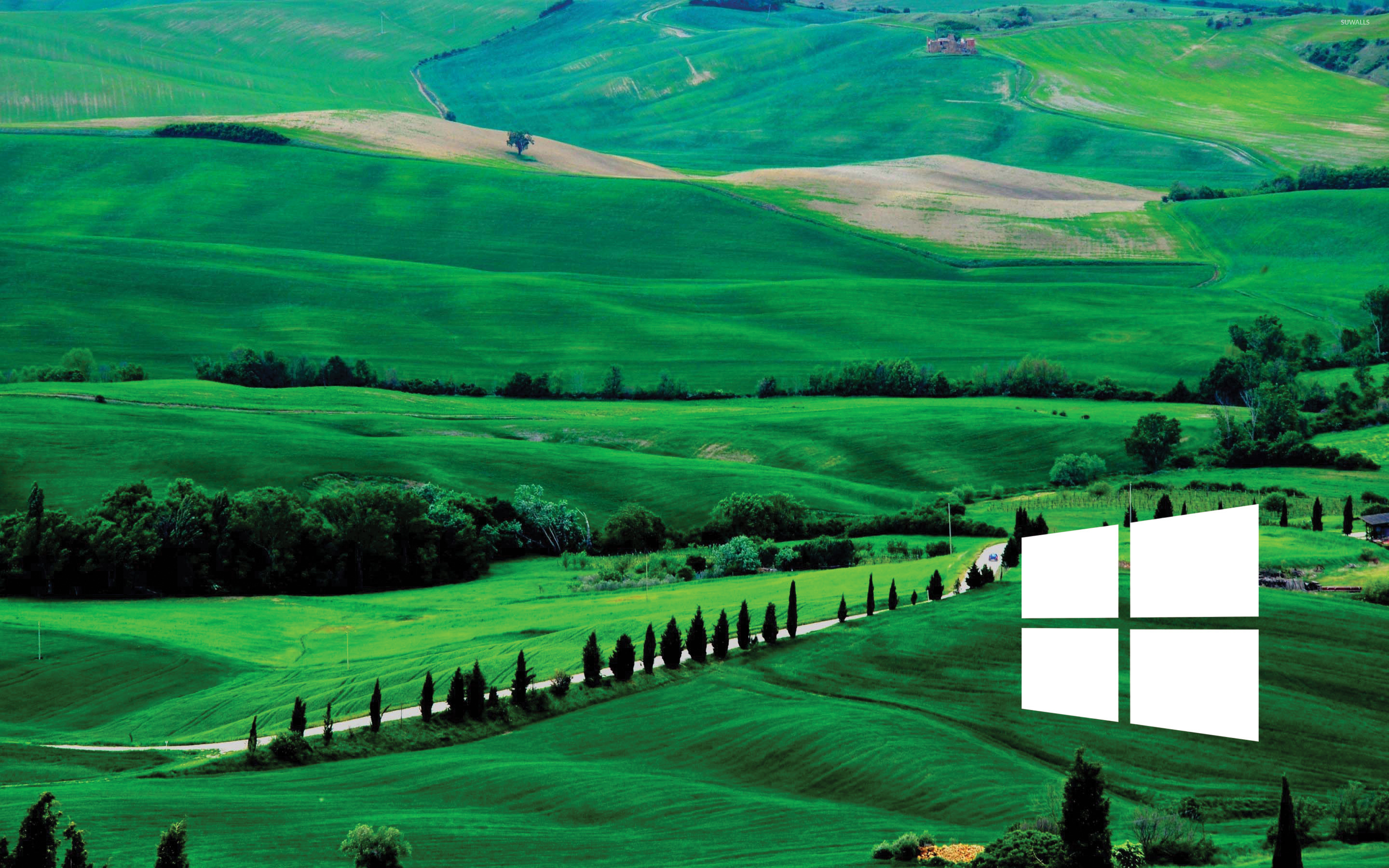 Fall Lake Wallpaper Windows 10 White Simple Logo Over The Green Hills
