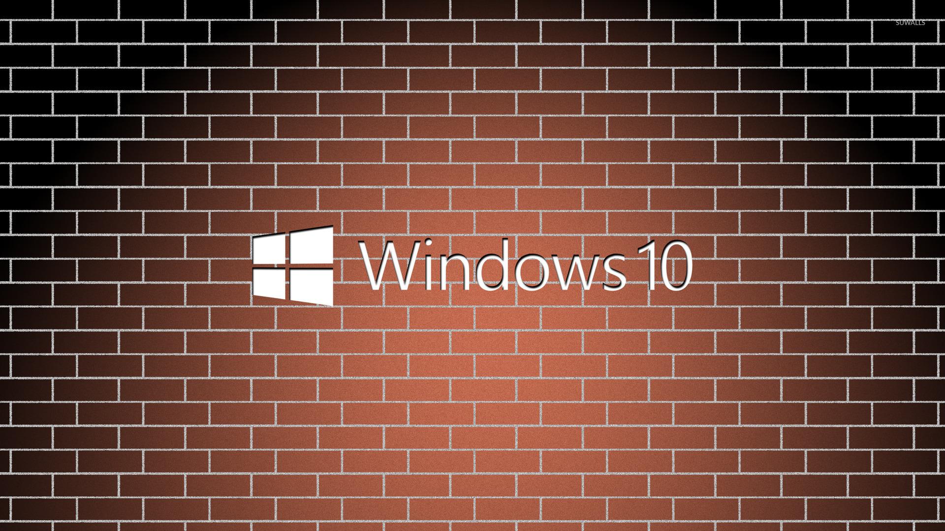 Fall Autumn Computer Wallpaper Windows 10 White Text Logo On A Brick Wall Wallpaper