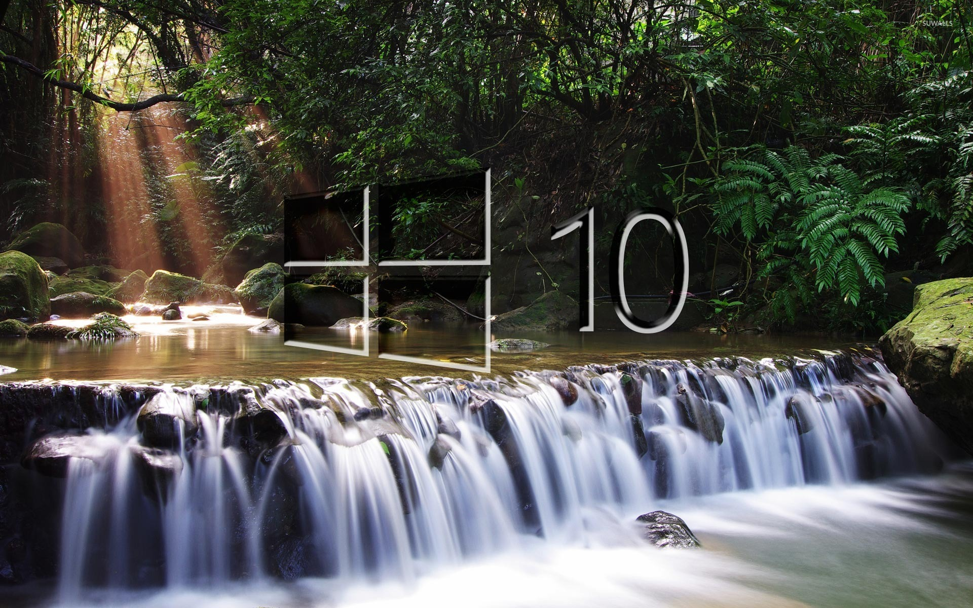 Funny Wallpapers Nature With Small Quotes Windows 10 On A Small Waterfall Glass Logo Wallpaper