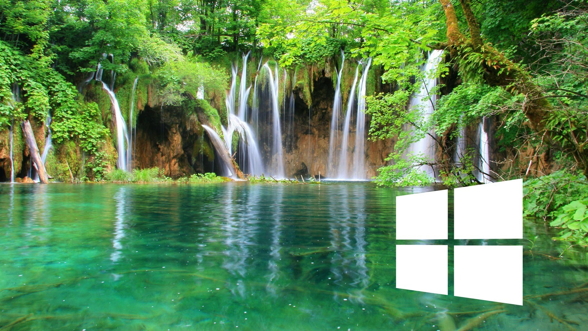 Fall Mountain Desktop Wallpaper Windows 10 On A Waterfall Simple White Logo Wallpaper