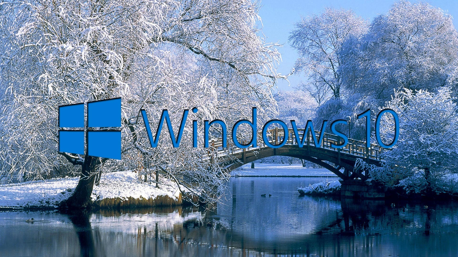 Fall Lake Wallpaper Windows 10 On The Snowy Lake Blue Text Logo Wallpaper
