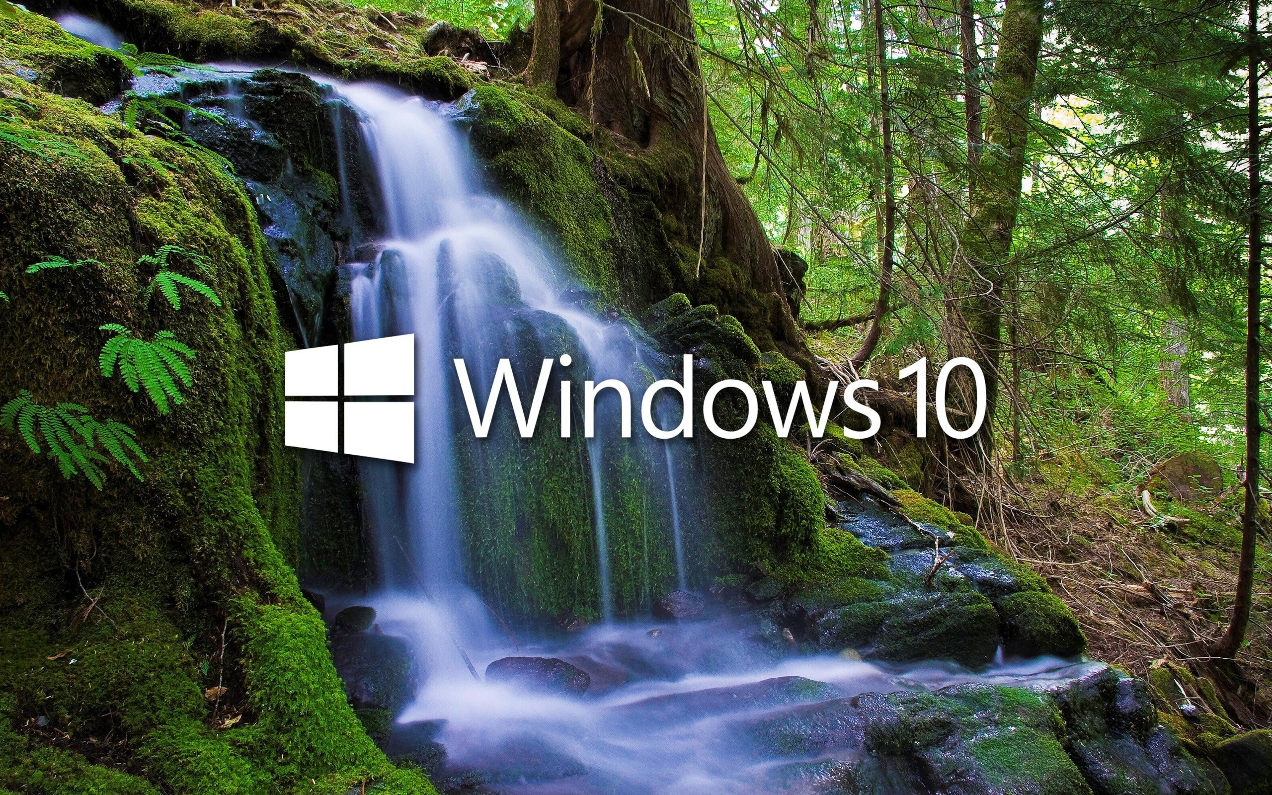Fall Wallpaper For Windows 10 Windows 10 Over The Waterfall White Text Logo Wallpaper