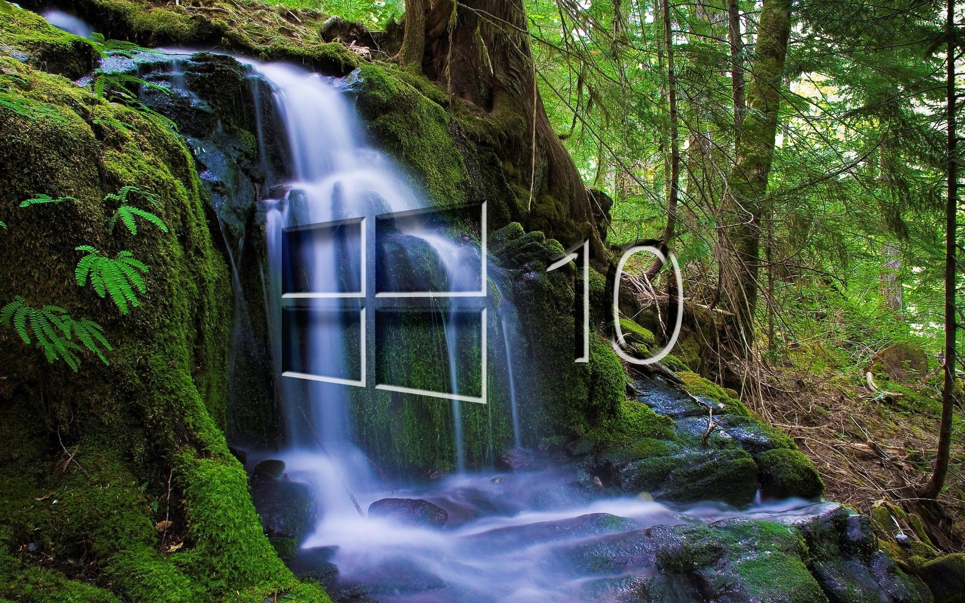 Natural Falls Wallpaper Free Download Windows 10 Over The Waterfall Glass Logo Wallpaper