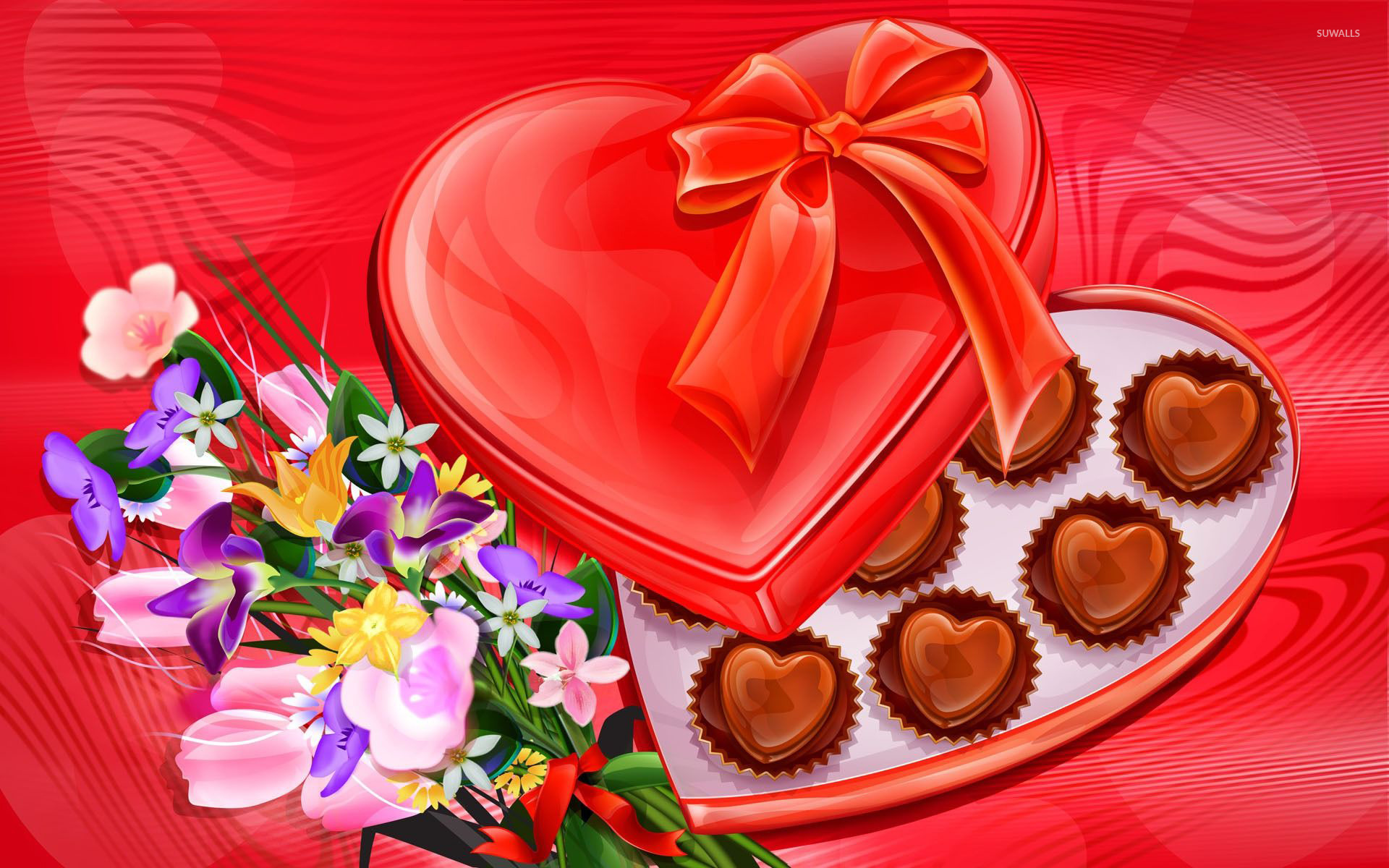 Funny Fall Wallpaper Heart Chocolates And Flowers Wallpaper Digital Art