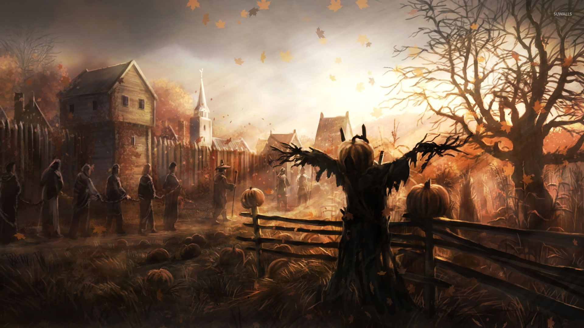 Fall Scarecrow Wallpaper Chained Slaves Walking Past The Scarecrow Wallpaper