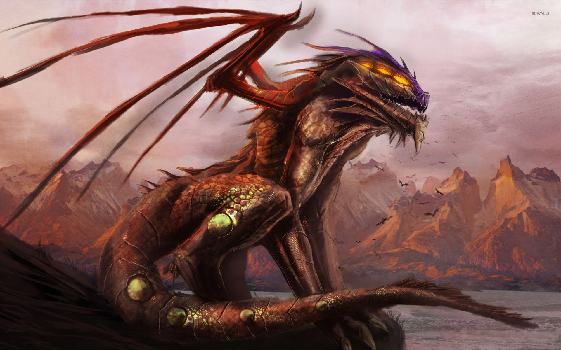 Cute World Map Desktop Wallpaper Scary Dragon On The Cliff Wallpaper Fantasy Wallpapers