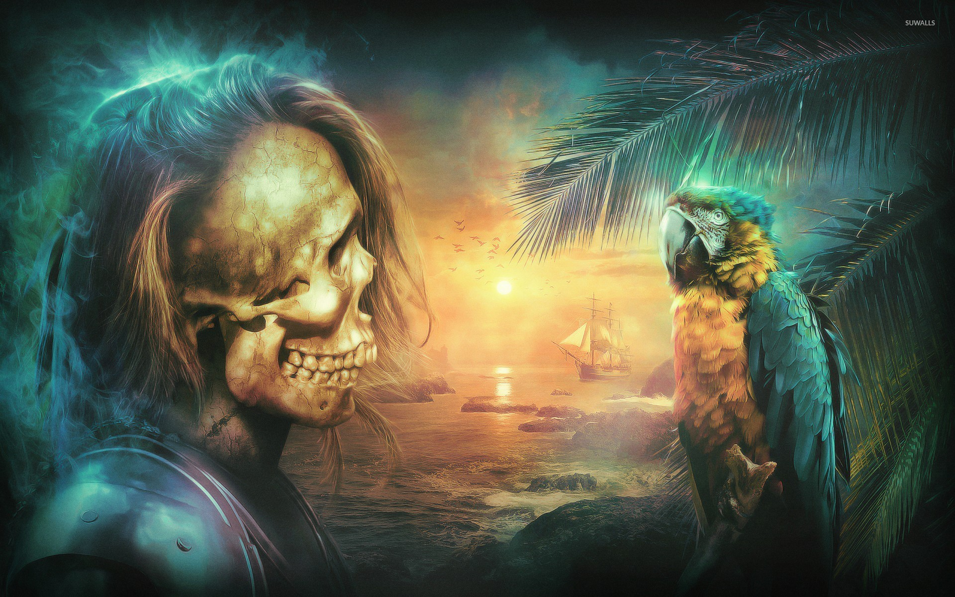 Pirates Of The Caribbean 3d Wallpapers Skeleton Pirate Looking At A Macaw Wallpaper Fantasy