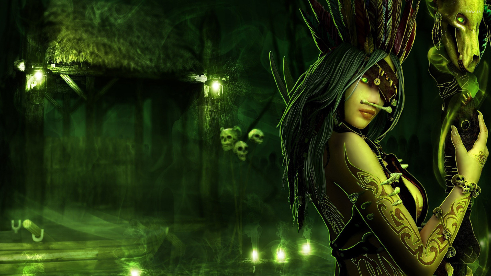 Wallpaper Girl With Headphones Voodoo Priestess Wallpaper Fantasy Wallpapers 17846