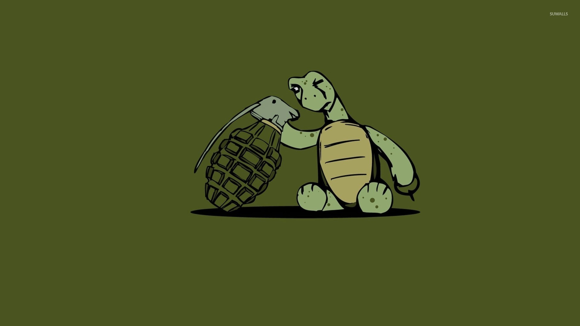 Cute Dog Wallpapers With Quotes Turtle Looking At A Grenade Wallpaper Funny Wallpapers