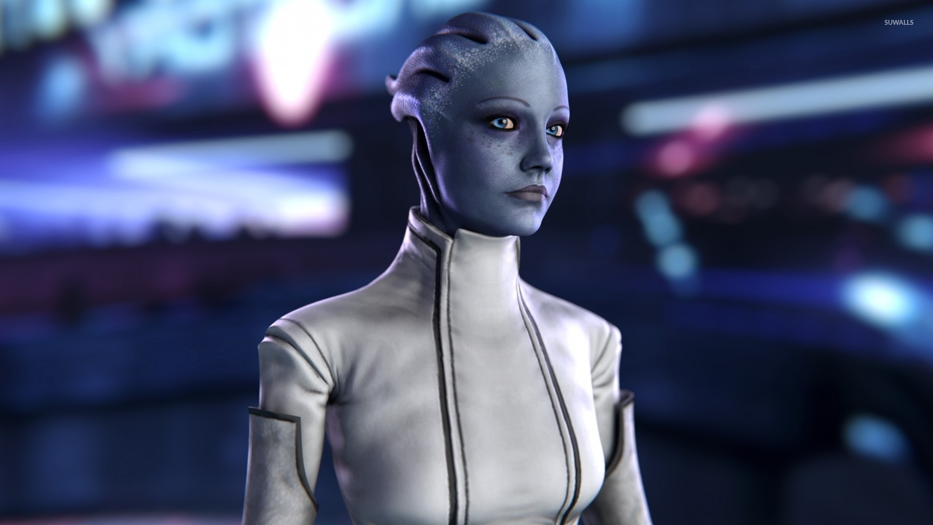 Skyrim Girl Wallpaper Asari In A White Suit Mass Effect Wallpaper Game