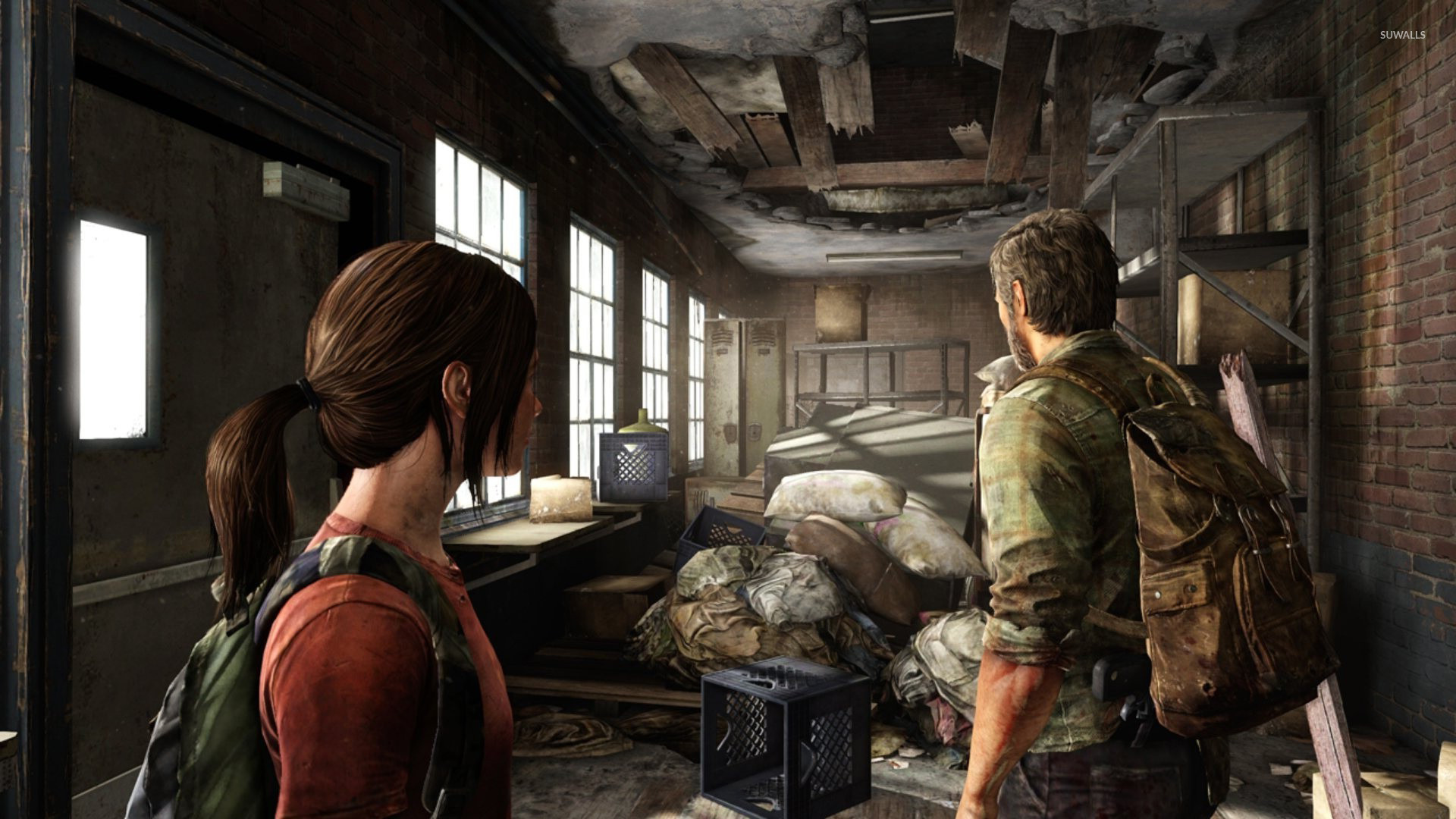 3d Wallpaper For House Walls Ellie And Joel The Last Of Us Wallpaper 885230