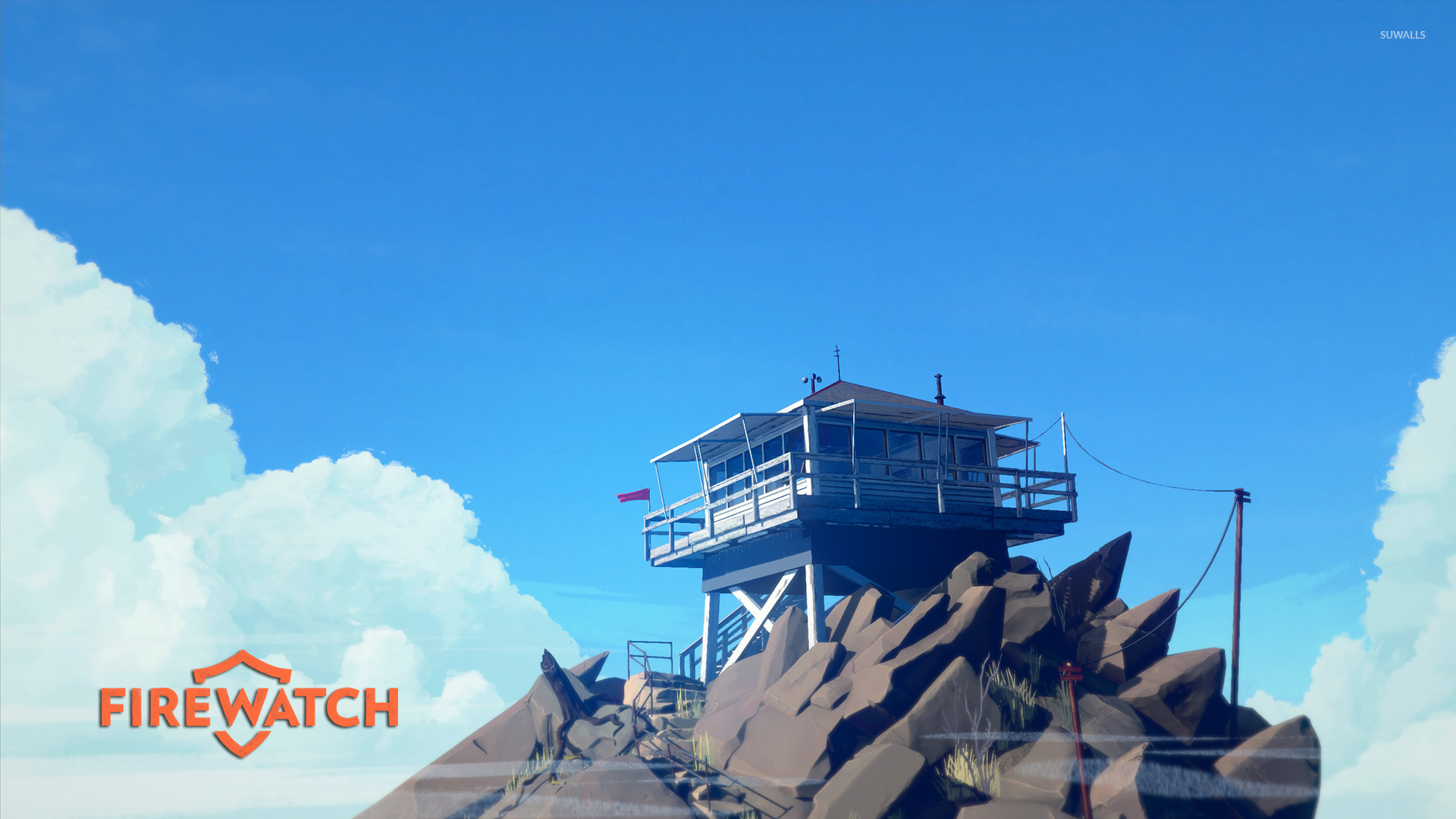 40k Quotes Wallpapers Fire Lookout Tower On The Cliff Firewatch Wallpaper