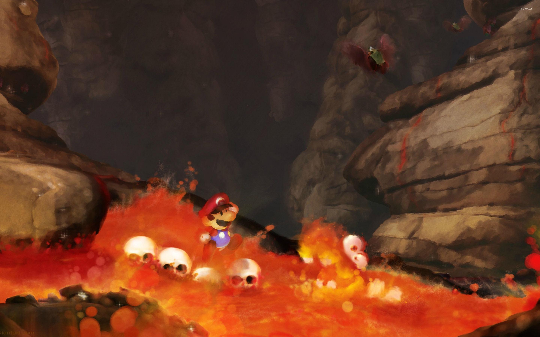 Desktop Wallpaper Fall Out Super Mario In Lava Wallpaper Game Wallpapers 27196