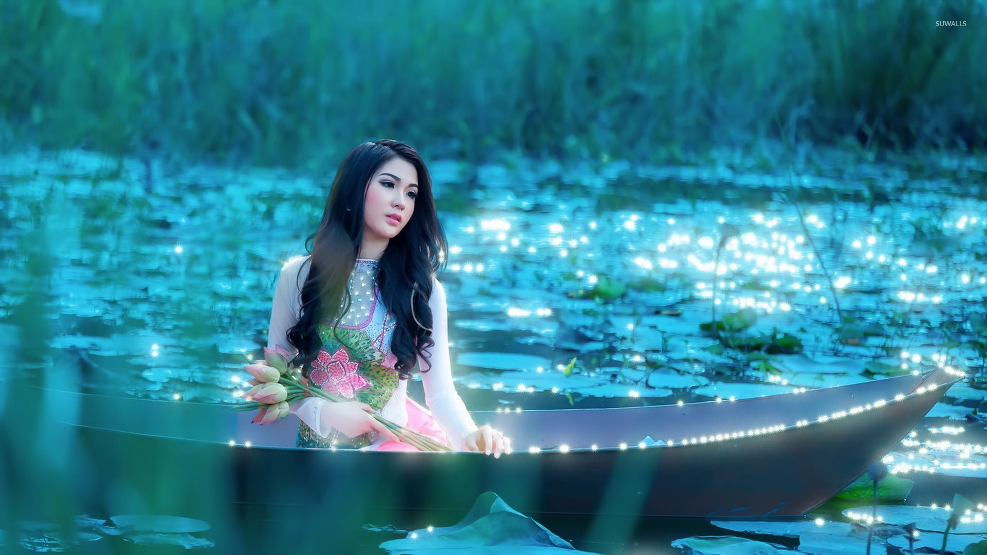 Anime Girl Chinese Dress Blue Wallpaper Girl With Flowers Sitting In The Boat Wallpaper Girl