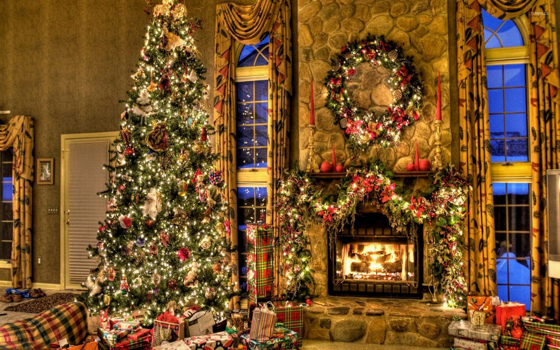 Christmas Fireplace Wallpaper Beautiful Christmas Tree By The Fireplace Wallpaper Holiday