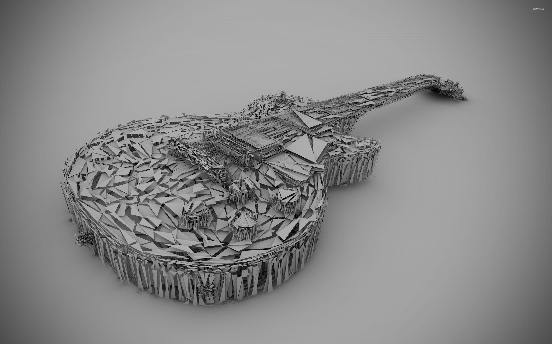 Illuminati 3d Wallpaper Guitar Built From White Triangles Wallpaper Music