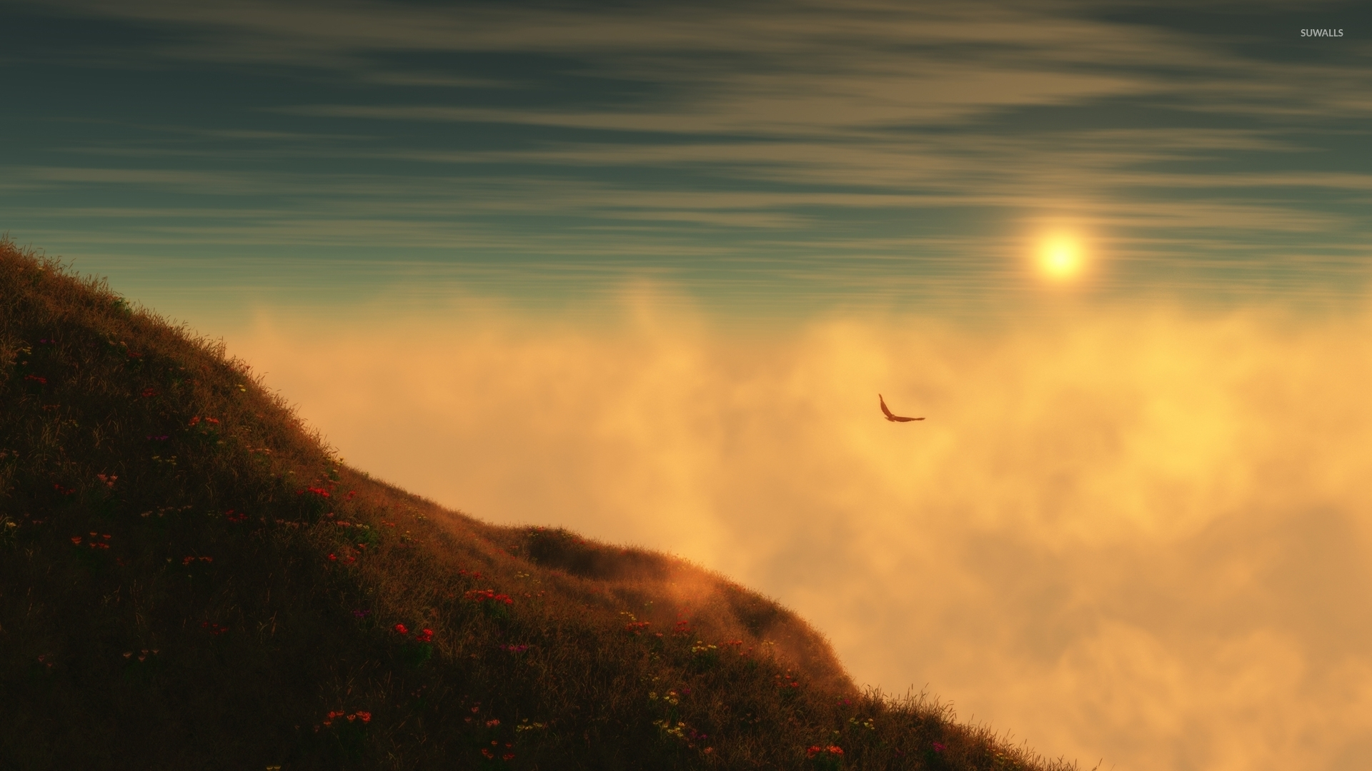 Windows 10 Wallpapers Hd Fall Bird Flying In The Fog Wallpaper Nature Wallpapers 36257