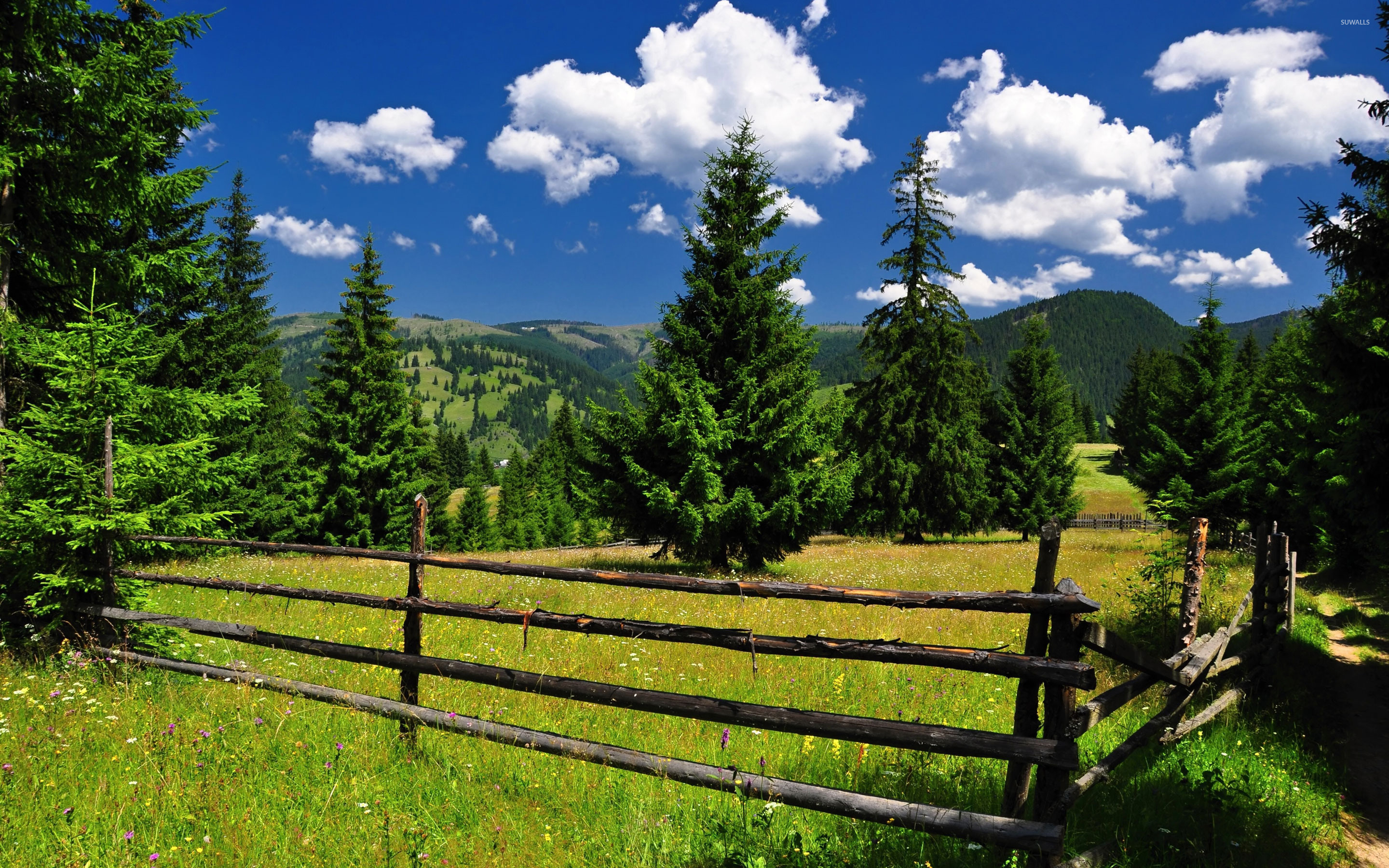 Pretty Fall Wallpapers Fence In The Mountains Wallpaper Nature Wallpapers 18527