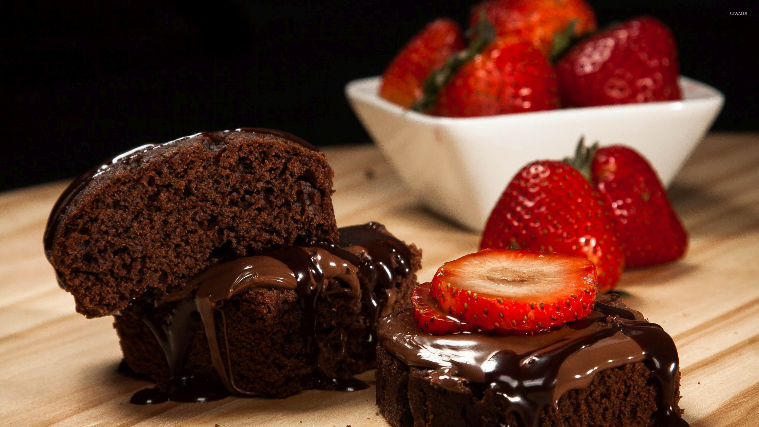 Fall Dessert Wallpaper Chocolate Cake And Strawberries Wallpaper Photography