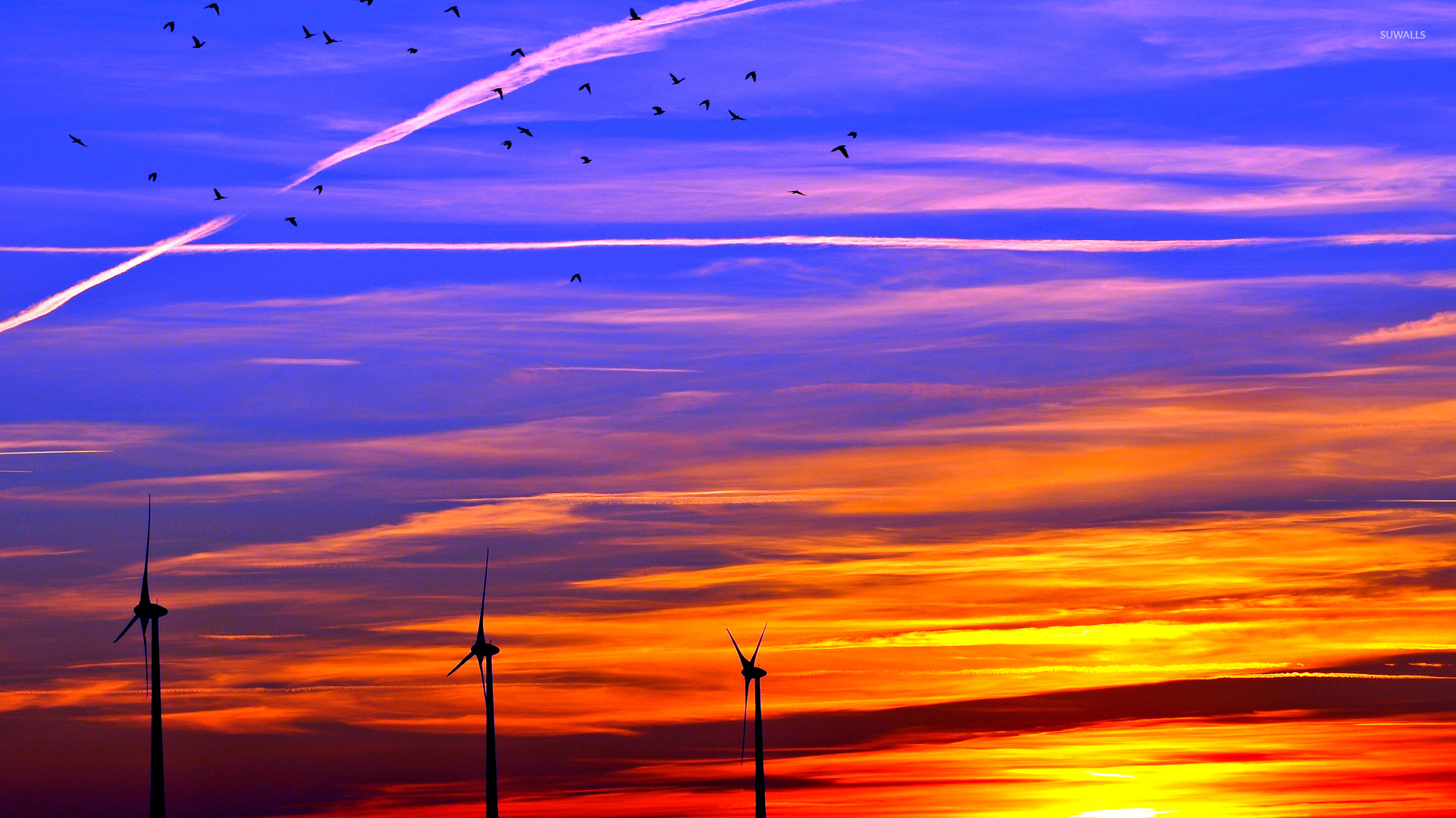 Pretty Fall Desktop Wallpaper Colorful Sunset Over The Wind Turbines Wallpaper