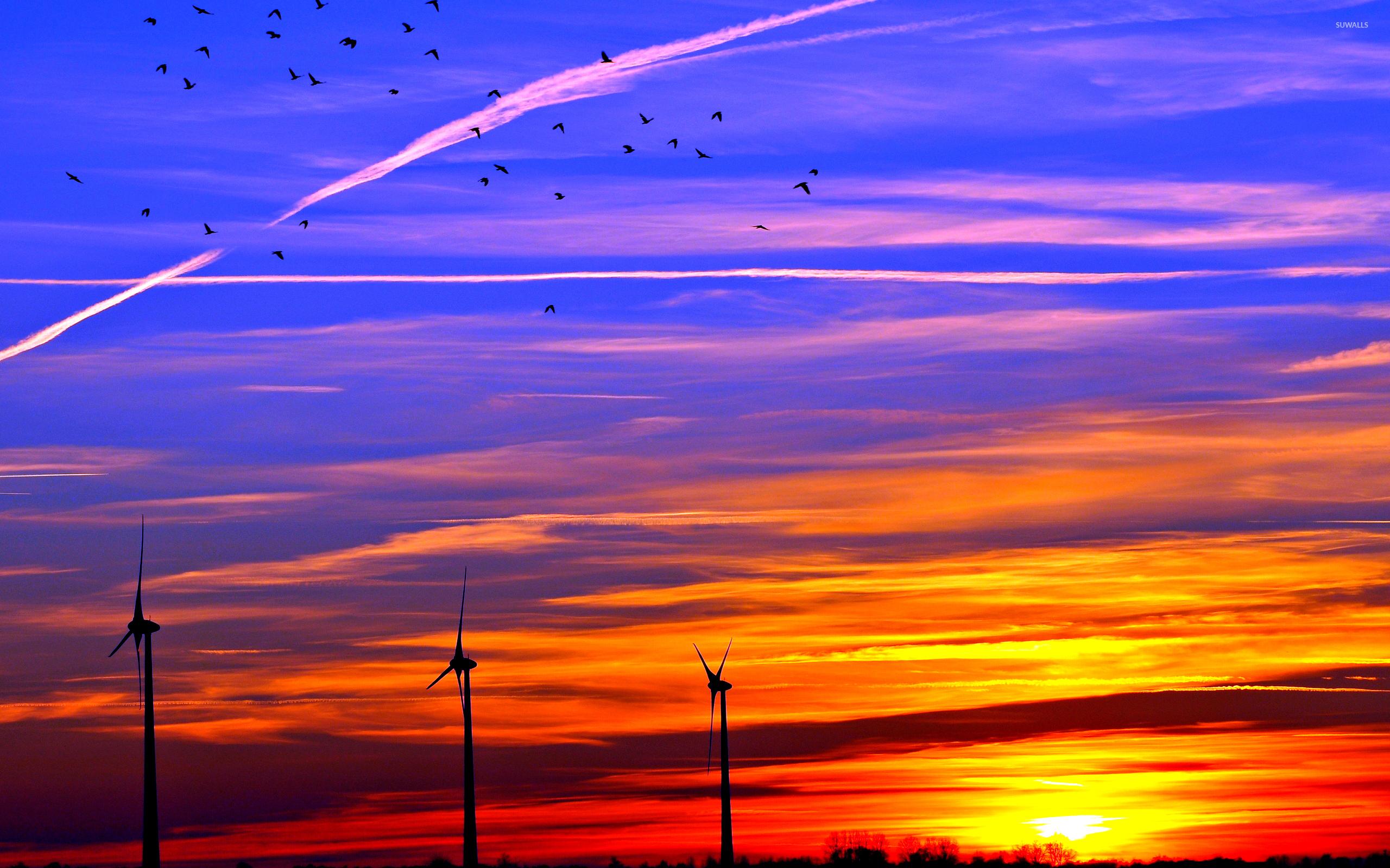 Fall Farm Desktop Wallpaper Colorful Sunset Over The Wind Turbines Wallpaper