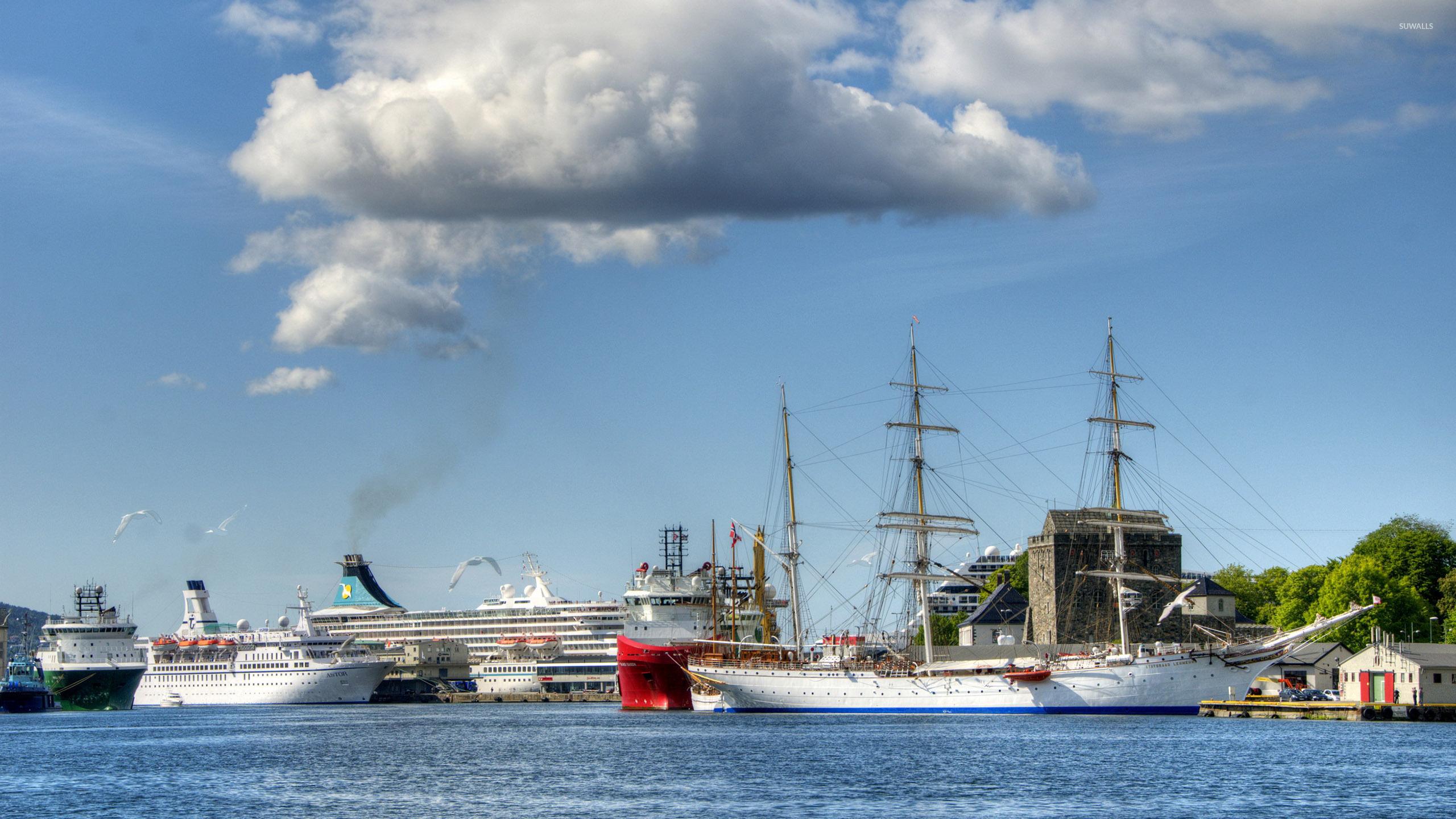 Fall Mountain Lake Wallpaper Cruise Ships In A Harbor Wallpaper Photography