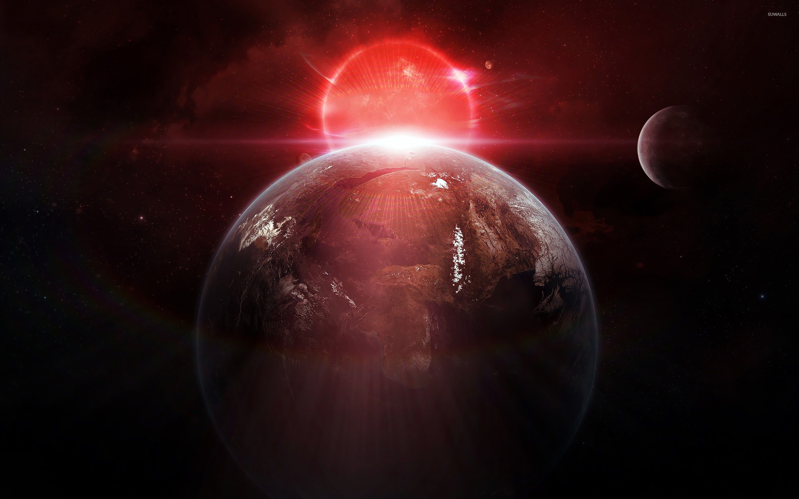Sunrise Wallpapers With Quotes Red Light Behind The Planet Wallpaper Space Wallpapers