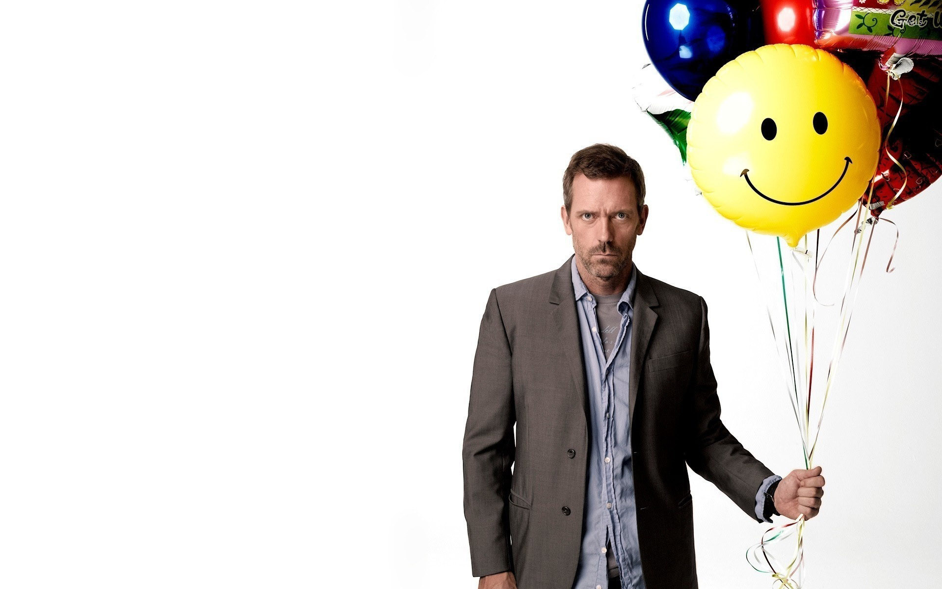 Hugh Laurie Quotes Wallpaper Dr Gregory House With Colorful Balloons House M D