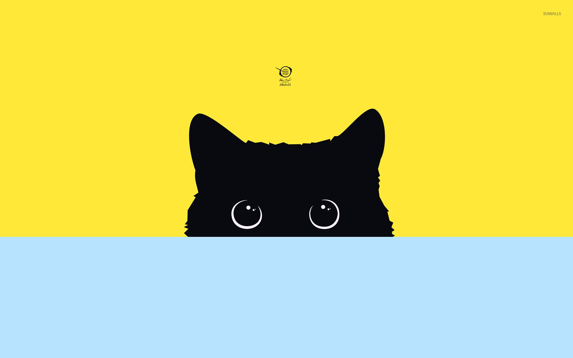 Cute Minimalistic Wallpapers Black Cat Hiding Wallpaper Vector Wallpapers 49039