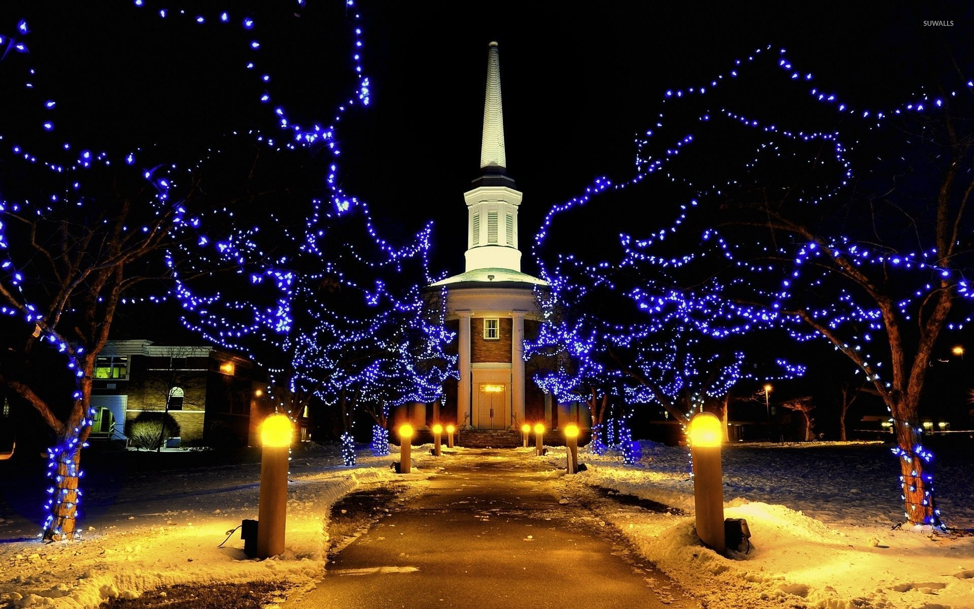 Christmas Tree Wallpapers With Quotes Golden Lit Path To A Chapel Through The Blue Lit Trees